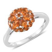 Salamanca Fire Opal Platinum Over Sterling Silver Floral Ring (Size 6.0) TGW 1.04 cts.