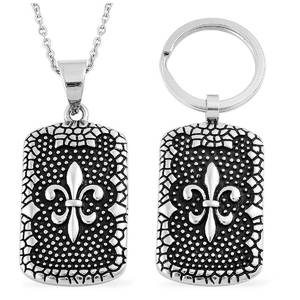 Black Oxidized Stainless Steel Keychain and Pendant With Chain (20 in)