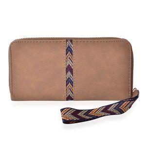 Olive Zigzag Pattern Vegan Leather Wallet (7.5x1x4 in)