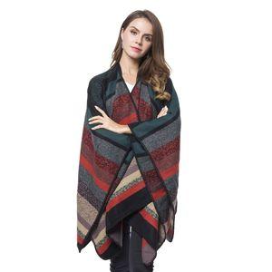 Multi Color Stripe Pattern 70% Acrylic & 30% Polyester Blanket Wrap (29.52x51.19 in)