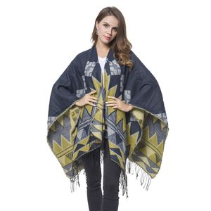 Yellow and Navy 70% Acrylic & 30% Polyester Geometric Pattern Ruana with Fringes (One Size)