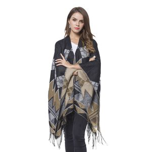 Camel and Black 70% Acrylic & 30% Polyester Geometric Pattern Ruana with Fringes (One Size)