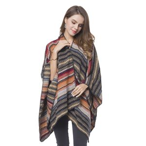 Multi Color Zigzag Stripe Pattern Cozy Shawl Wrap