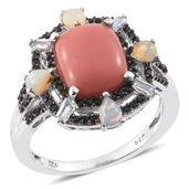 Oregon Peach Opal, Multi Gemstone Platinum Over Sterling Silver Ring (Size 10.0) TGW 4.28 cts.