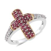 Cambodian Zircon, Burmese Red Spinel 14K YG and Platinum Over Sterling Silver Cross Ring (Size 9.0) TGW 1.08 cts.