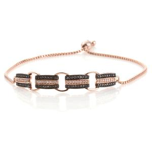 Natural Pink and Champagne Diamond 14K RG Over Sterling Silver Bolo Bracelet (Adjustable) TDiaWt 0.50 cts, TGW 0.50 cts.