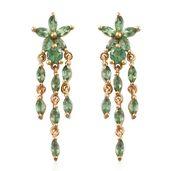 Emeraldine Apatite 14K YG Over Sterling Silver Drop Earrings TGW 2.63 cts.