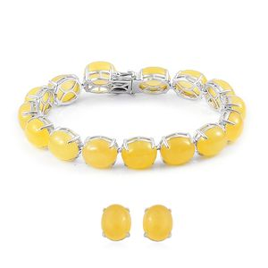 Burmese Yellow Jade Sterling Silver Tennis Bracelet (7.50 In) and Stud Earrings TGW 105.88 cts.