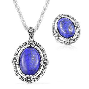 Lapis Lazuli Black Oxidized Stainless Steel Ring (Size 7) and Pendant With Chain (20 in) TGW 15.00 cts.