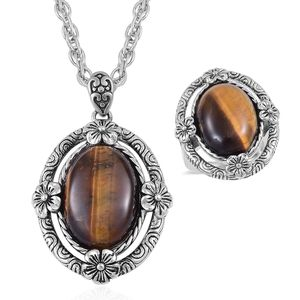 One Day TLV South African Tigers Eye Black Oxidized Stainless Steel Ring (Size 7) and Pendant With Chain (20 in) TGW 15.00 cts.