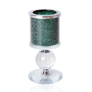 Doorbuster Green Resin, Glass Candle Holder with Crystal Ball (5.51x2.75 in)