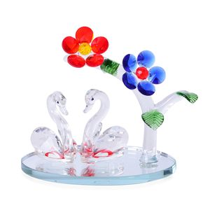 Red and Blue Glass Flower Plant and Two Swan Crystal Figurine (5.11x5.51 in)