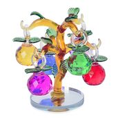 Multi Color and Yellow Glass Dangling Fruits Tree Crystal Figurine (2.36x1.57 in)