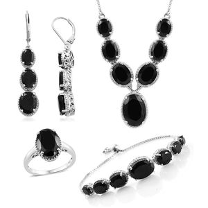 Thai Black Spinel Platinum Over Sterling Silver Bolo Bracelet (Adjustable), Lever Back Earrings, Ring (Size 8) and Necklace (18.00 In) TGW 58.50 cts.
