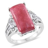 Norwegian Thulite, White Topaz Platinum Over Sterling Silver Ring (Size 6.0) TGW 15.23 cts.