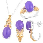 Burmese Purple Jade, Amethyst 14K YG Over and Sterling Silver J-Hoop Earrings, Ring (Size 7) and Pendant With Chain (18 in) TGW 23.99 cts.