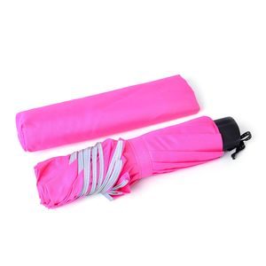 Fuschia Three Fold Umbrella with Handle (10 in)