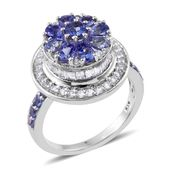 Premium AAA Tanzanite, White Topaz Platinum Over Sterling Silver Floral Mount Ring (Size 8.0) TGW 3.75 cts.