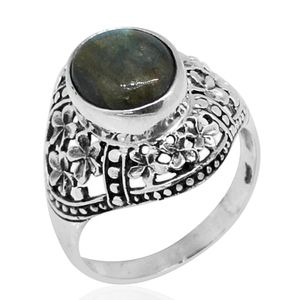 Bali Legacy Collection Malagasy Labradorite Sterling Silver Ring (Size 9.0) TGW 5.70 cts.