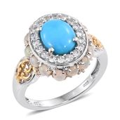 Arizona Sleeping Beauty Turquoise, Ethiopian Welo Opal, Cambodian Zircon 14K YG and Platinum Over Sterling Silver Ring (Size 6.0) TGW 3.99 cts.