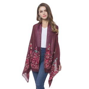 Burgundy 100% Polyester Embroidered Lotus and Paisley Pattern Shawl or Scarf (72x28 in)