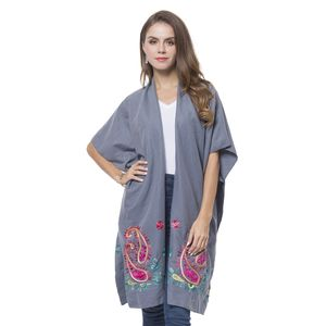 Gray Embroidery 100% Polyester Kimono (35.44x37.41 in)
