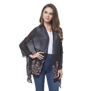 Black 100% Polyester Embroidered Paisley Pattern Shawl or Scarf (72x28 in)