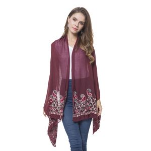 Burgundy 100% Polyester Embroidered Paisley Pattern Shawl or Scarf (72x28 in)