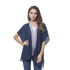 Navy 100% Polyester Kimono with Embroidery Lace (35.43x27.56 in)