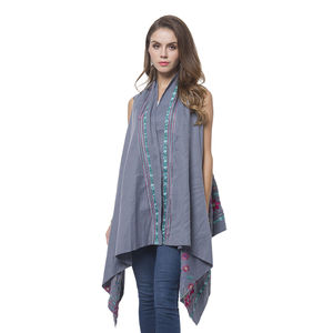 Gray Floral and Striped Embroidery 100% Polyester Sleeveless Drape Kimono (One Size)