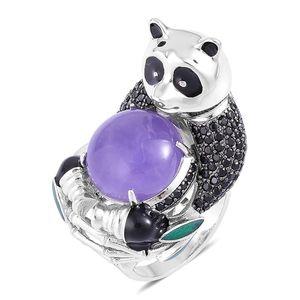 Burmese Purple Jade, Thai Black Spinel Black Rhodium Sterling Silver Panda Ring (Size 5.0) TGW 15.38 cts.