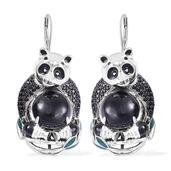 Burmese Black Jade, Thai Black Spinel Black Rhodium and Sterling Silver Panda Drop Lever Back Earrings TGW 25.10 cts.