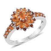 Salamanca Fire Opal, Mozambique Garnet Platinum Over Sterling Silver Sunflower Ring (Size 8.0) TGW 1.24 cts.