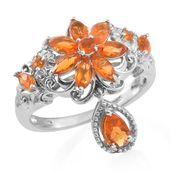 Salamanca Fire Opal, Anthill Garnet Platinum Over Sterling Silver Flower Drop Ring (Size 8.0) TGW 1.18 cts.