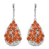 Salamanca Fire Opal Platinum Over Sterling Silver Cluster Lever Back Earrings TGW 3.94 cts.