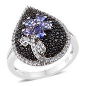 Premium AAA Tanzanite, Thai Black Spinel, Cambodian Zircon Platinum Over Sterling Silver Flower Ring (Size 6.0) TGW 2.48 cts.