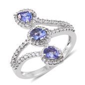 Premium AAA Tanzanite, Cambodian Zircon Platinum Over Sterling Silver Bypass Ring (Size 7.0) TGW 1.76 cts.