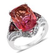 Arizona Sunset Quartz, Orissa Rhodolite Garnet, Cambodian Zircon Platinum Over Sterling Silver Ring (Size 8.0) TGW 13.51 cts.