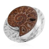 Oct 30th Bali Legacy Collection Ammonite Sterling Silver Ring (Size 5.0) TGW 15.51 cts.