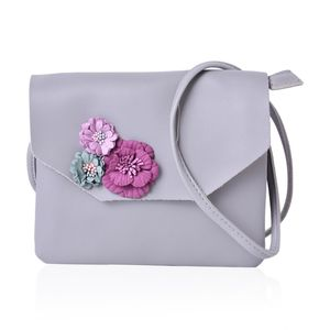 Gray Faux Leather 3D Floral Crossbody Bag (7.5x6.5 in)