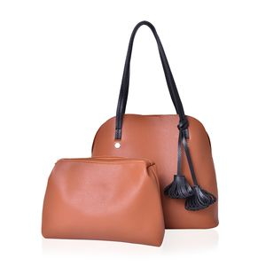 Camel Faux Leather Standing Studs Shoulder Bag (13x6x12 in) with Matching Pouch (11x2.5x8 in)