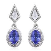 Premium AAA Tanzanite, White Topaz Platinum Over Sterling Silver Earrings TGW 1.38 cts.
