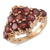 Mozambique Garnet 14K YG Over Sterling Silver Ring (Size 10.0) TGW 7.45 cts.