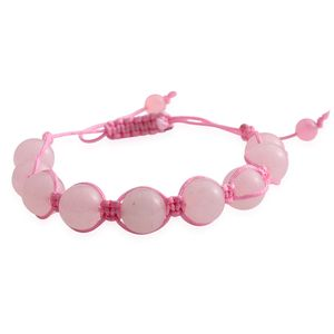 Galilea Rose Quartz Beads Bracelet on Pink Cord (Adjustable) TGW 70.00 cts.