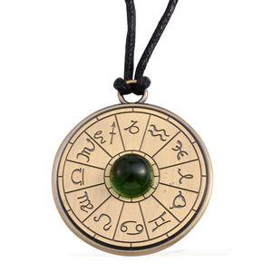 Astrology Talisman Amulet Green Glass Goldtone Pendant on Black Cord (24 In)