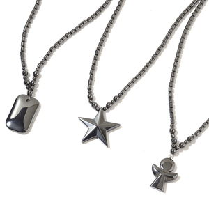 Hematite Beads Silvertone Set of 3 Pendant With Necklace (20 in) TGW 542.00 cts.