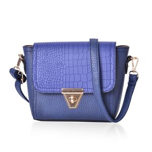 Blue Faux Leather Crossbody Bag with Adjustable Shoulder Strap (9.4x7.1x7 in)