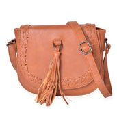 Brown Faux Leather Crossbody Bag with Tassel (9.3x3x74 in)