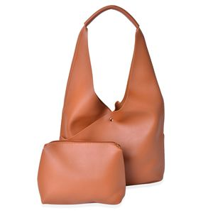 Brown Faux Leather Pouch (13.4x4.1x9.6 in) and Hobo Bag (9x3.4x7 in)