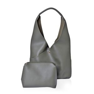 Olive Green Faux Leather Hobo Bag (16x5x12 in) with Matching Pouch (11x8 in)